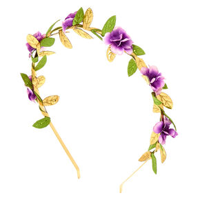Gold Metallic Flower Crown Headband - Lavender,