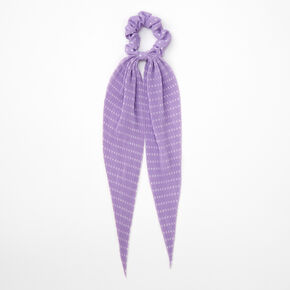 Small Polka Dot Pleated Scarf Hair Scrunchie - Lilac,