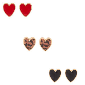Gold Button Heart Stud Earrings - 3 Pack,