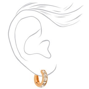 Gold 12MM Embellished Huggie Hoop Earrings,