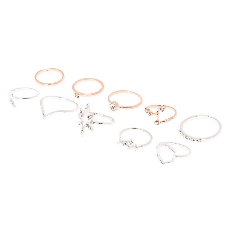 Mixed Metal Cosmic Multi-Size Rings - 10 Pack,