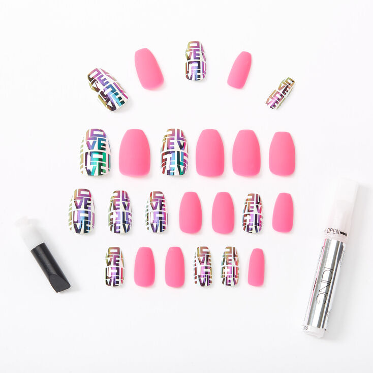 Mixed Love Block Letters & Matte Coffin Faux Nail Set - Pink, 24 Pack,