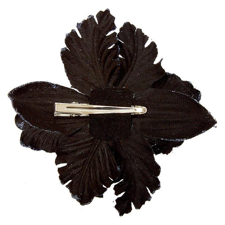 Velvet Glitter Flower Hair Clip - Black,