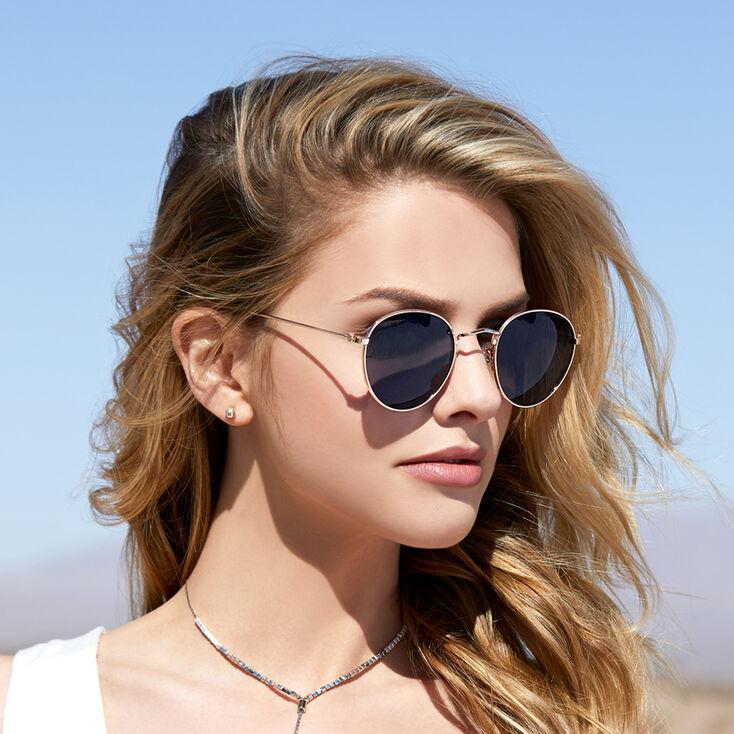 Retro Round Tinted Sunglasses - Black,