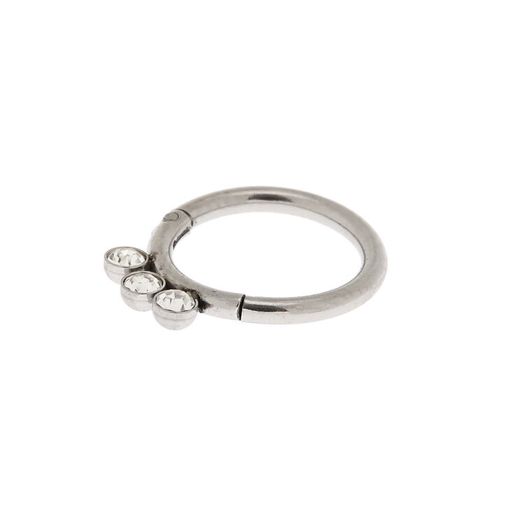Silver 16G Triple Crystal Cartilage Clicker Hoop Earring,