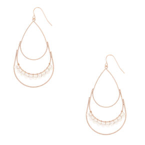 Rose Gold-Tone Teardrop Gem Dangle Earrings,