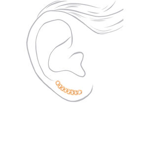 "Gold 1"" Chain Ear Crawler Earrings,"