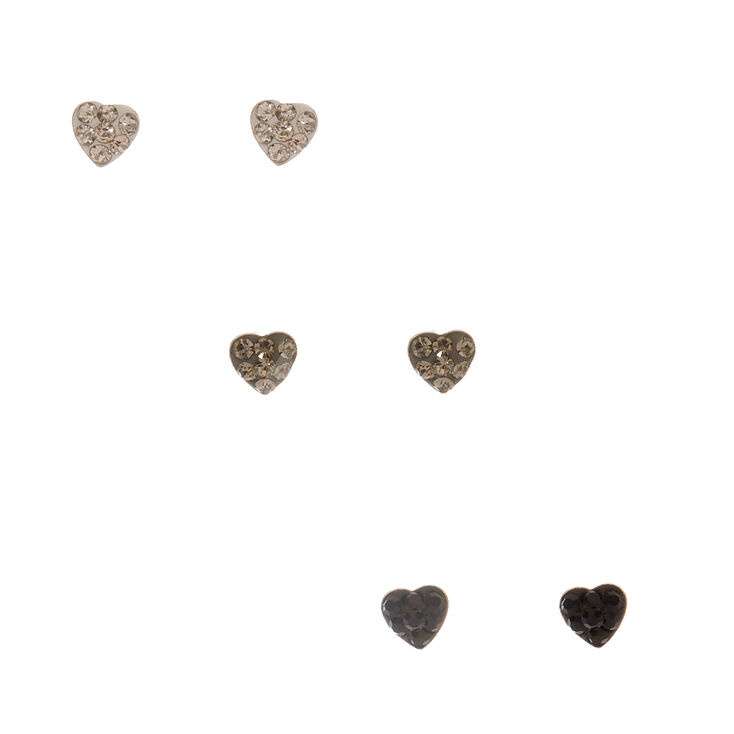 925 Sterling Silver Crystal Heart Earrings,