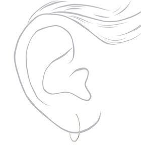 Silver 25MM Hammered Hoop Earrings,