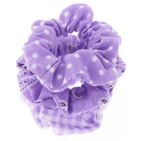 Bandana Print Mix Hair Scrunchies - Lilac, 3 Pack,