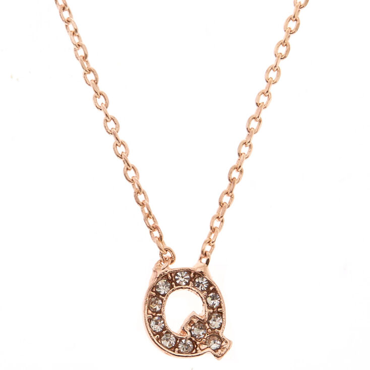 "Rose Gold Studded ""Q"" Initial Necklace,"
