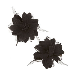 Black Lily & Feathers Hair Clips,