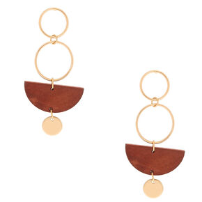"Gold 2"" Geometric Wooden Drop Earrings - Brown,"