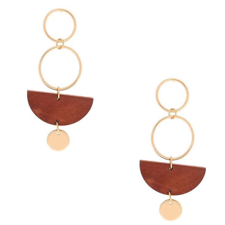 """Gold 2"""" Geometric Wooden Drop Earrings - Brown,"""