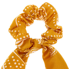 Paisley Satin Scarf Hair Scrunchie - Mustard,