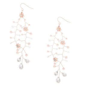 "3"" Rose Gold Peal Chandelier Vine Drop Earrings,"