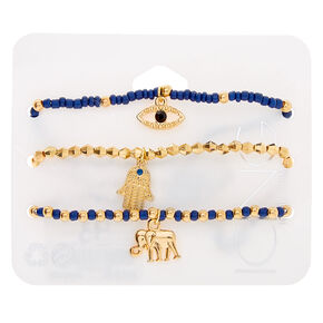 Gold Mystic Bead Stretch Bracelets - Navy, 3 Pack,