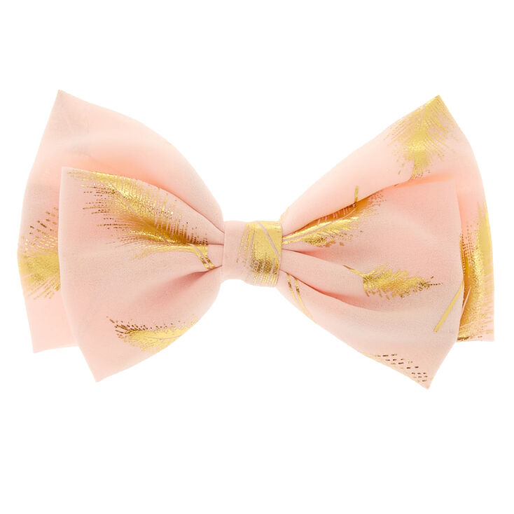 Gold Leaf Bow Hair Clip - Blush Pink,