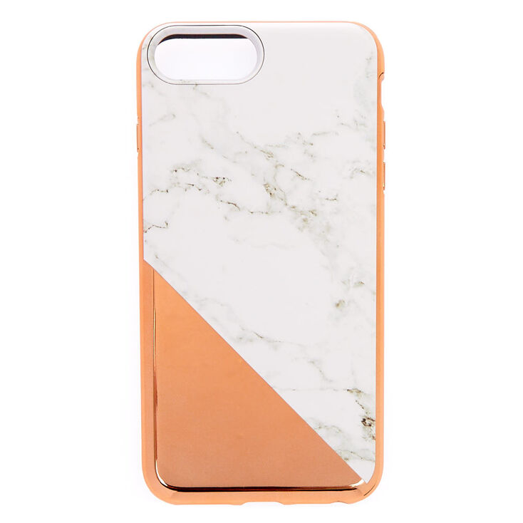Rose Gold Marble Protective Phone Case - Fits iPhone 6/7/8 Plus,