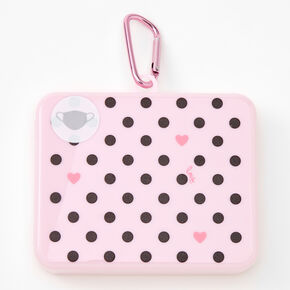 Polka Dot Heart Face Mask Case - Light Pink,
