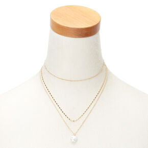 Gold Flat Pearl Multi Strand Necklace,
