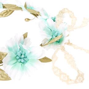 Mint Crochet Flower Crown,
