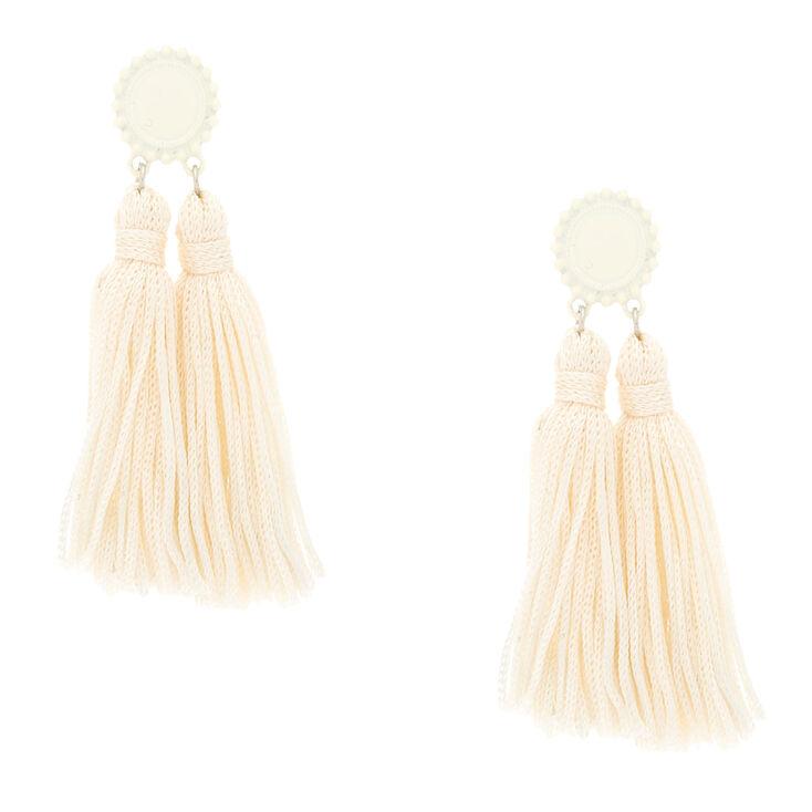 """3"""" Double Tassel Drop Earrings - White,"""