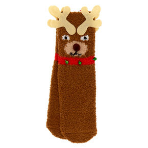 Reindeer Cozy Crew Socks - Brown,