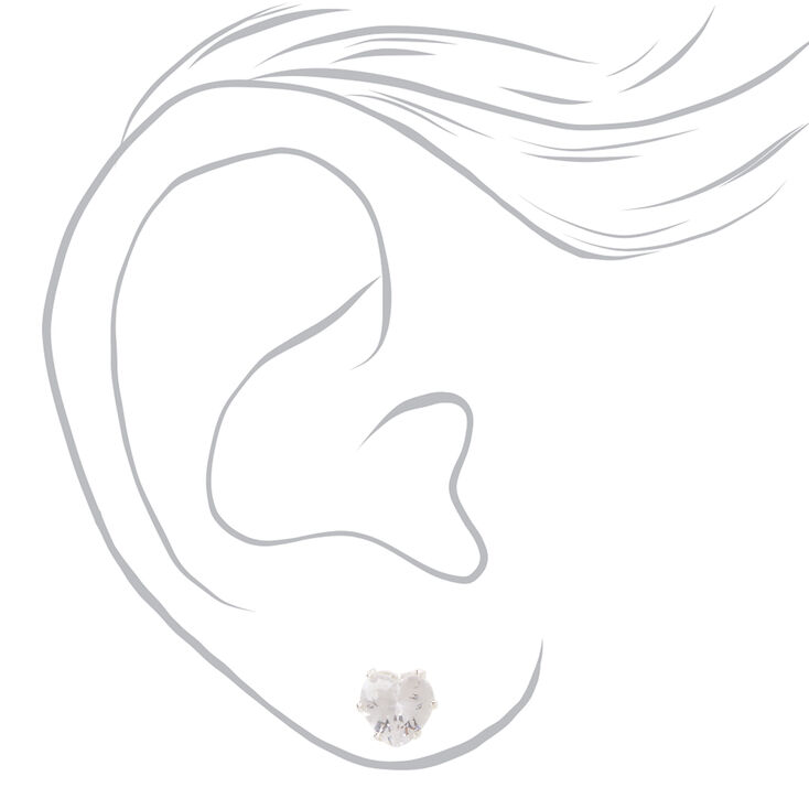 Silver Cubic Zirconia 8MM Heart Jewelry Set - 2 Pack,
