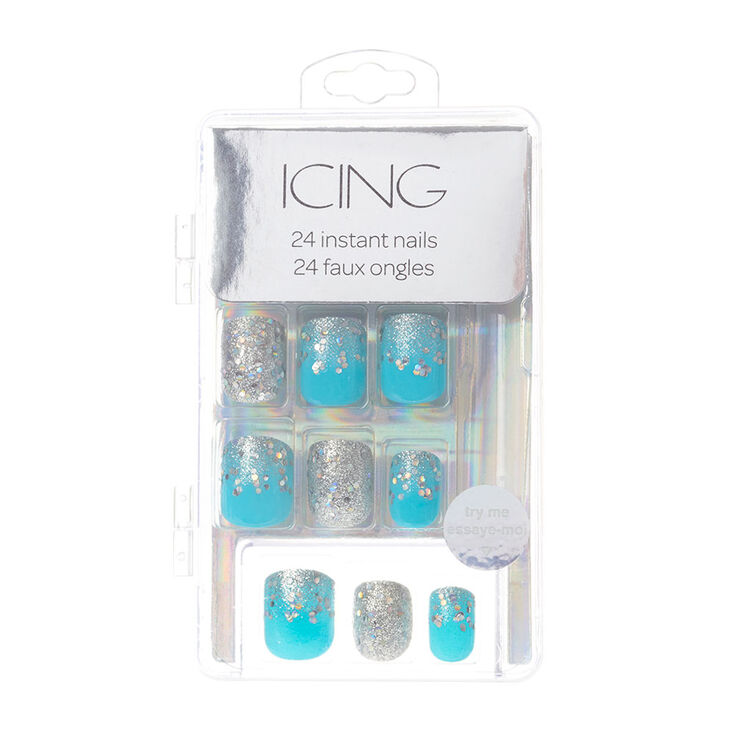 Silver Glitter & Turquoise Instant Nails,