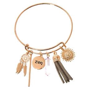 Gold-Tone Zen Bangle Charm Bracelet,