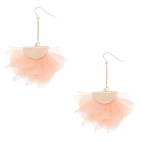 "2.5"" Chiffon Fan Drop Earrings - Blush Pink,"