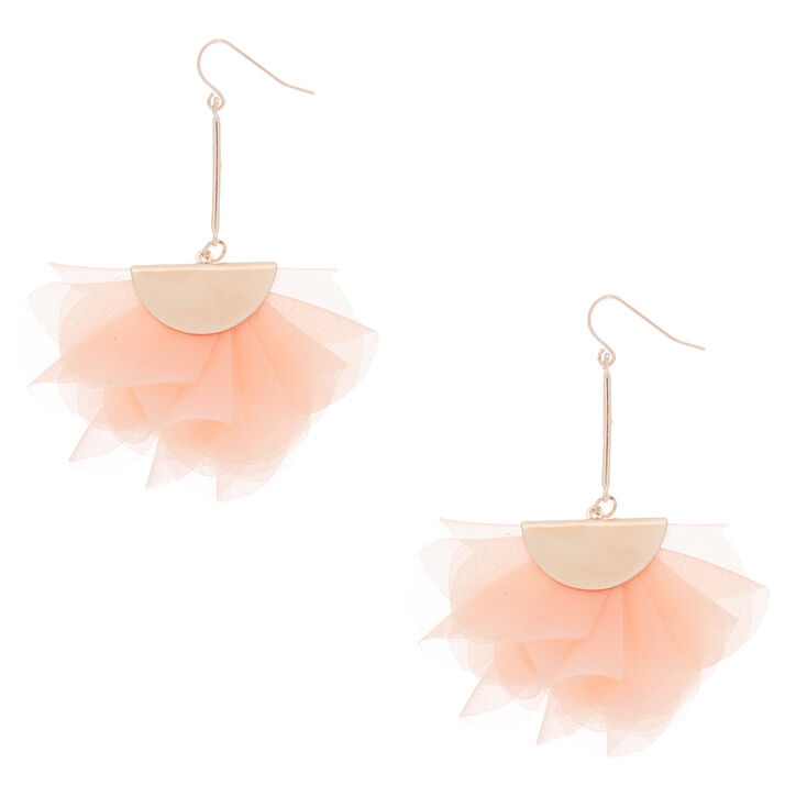 "2.5"" Chiffon Fan Drop Earrings - Blush Pink,"