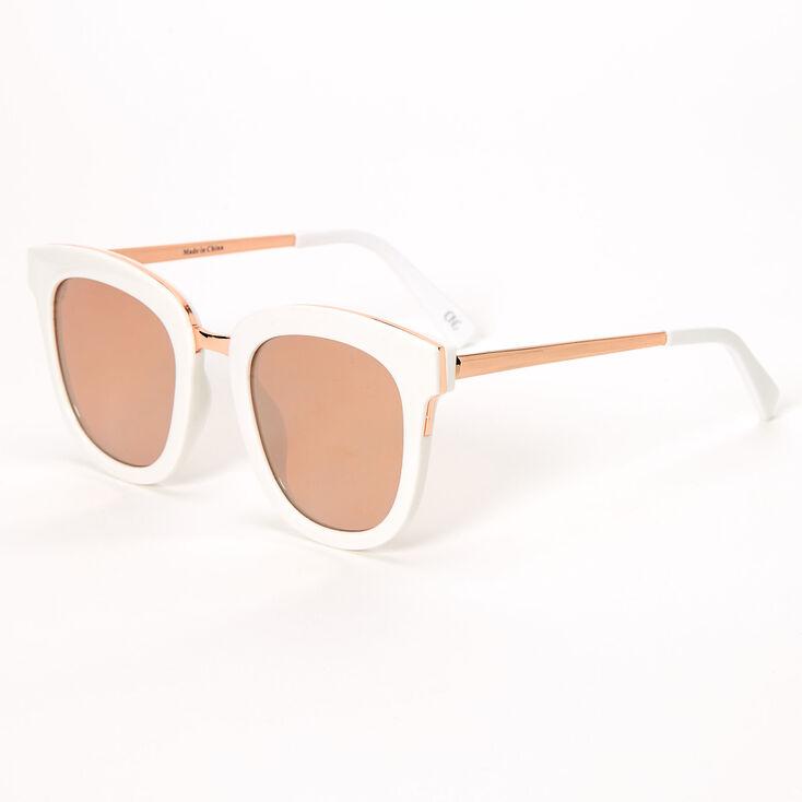 1960s Sunglasses | 70s Sunglasses, 70s Glasses Icing Oversized Mod Sunglasses - White $16.99 AT vintagedancer.com