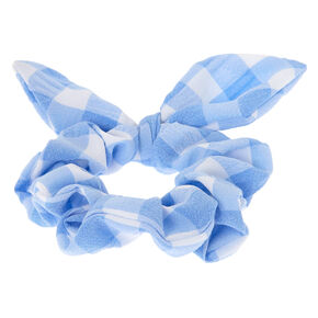 Small Gingham Knotted Bow Hair Scrunchie - Blue,