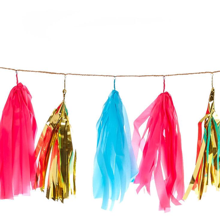 Pink, Gold & Blue Tassel Garland Banner,