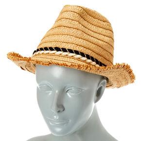 Frayed Straw Fedora Hat,