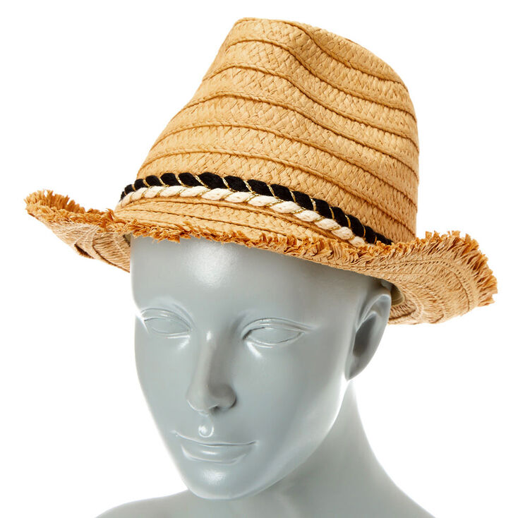 Frayed Straw Fedora Hat,