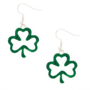 """Silver 1"""" Glitter Shamrock Drop Earrings - Green,"""