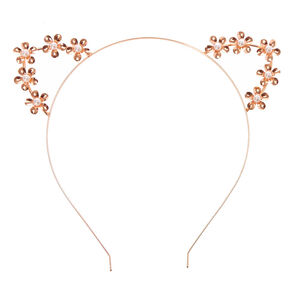 Rose Gold Flower Cat Ears Headband,