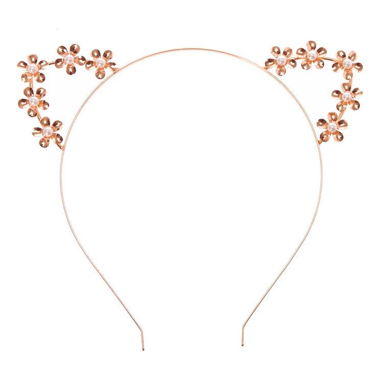 Rose Gold Flower Cat Ears Headband,
