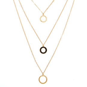 Gold Ring Multi Strand Necklace,