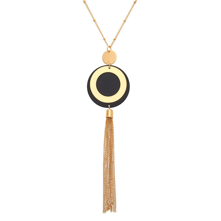 Vintage Style Jewelry, Retro Jewelry Icing Gold Disc Tassel Long Pendant Necklace $12.99 AT vintagedancer.com