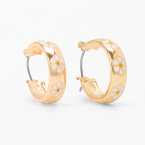 Gold 20MM Thick Daisy Hoop Earrings - White,