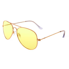 Yellow Tinted Aviator Sunglasses - Gold,