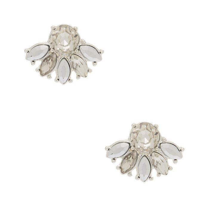 Silver Rhinestone Fan Stud Earrings,