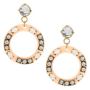 "2"" Circle Drop Earrings - Blush,"
