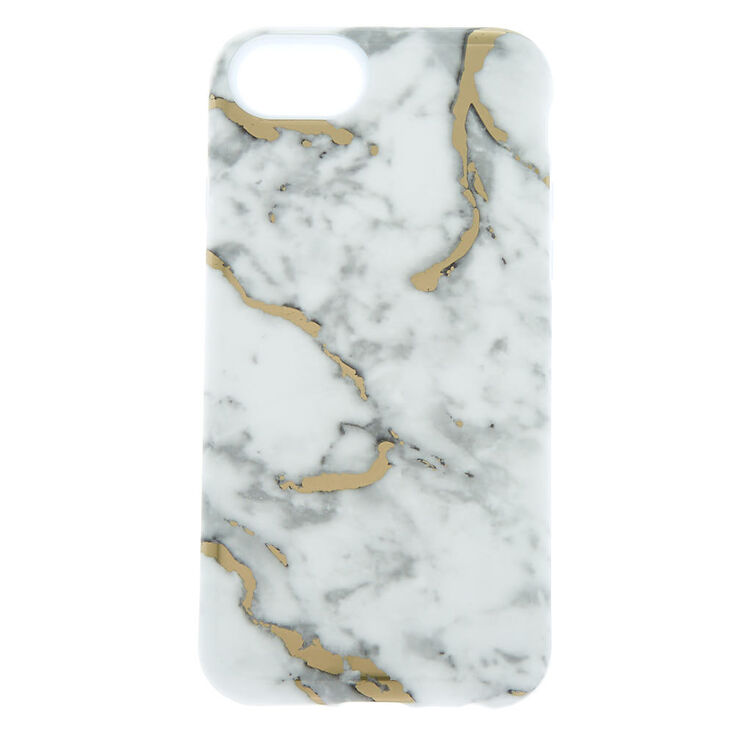 White & Gold Marble Protective Phone Case - Fits iPhone® 6/7/8/SE,