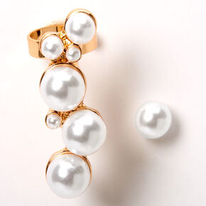 Gold Pearl Ear Crawler & Stud Earring Set,
