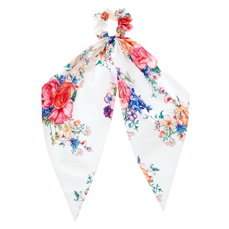 Rose Draped Scarf Hair Scrunchie - White,